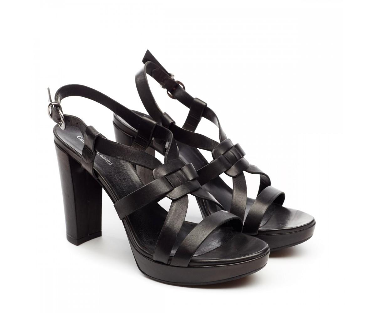 Босоножки женские кожаные черные на высоком каблуке Cantini & Cantini