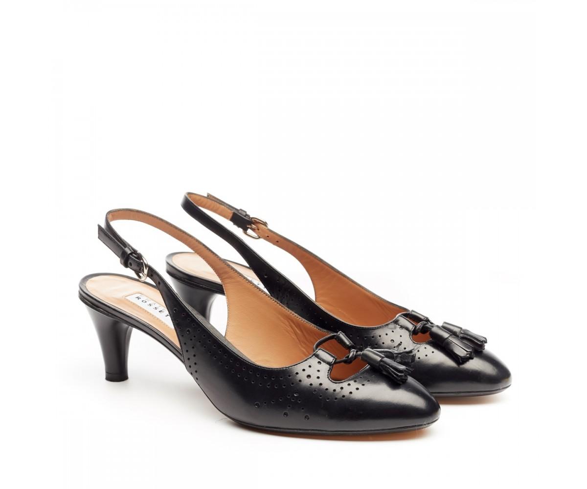 Босоножки женские Fratelli Rossetti, черные кожаные, на каблуке